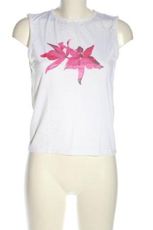 JP Collection Tanktop weiß-pink Blumenmuster Casual-Look