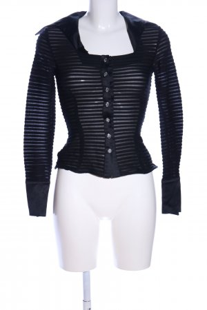 JS Collections Langarm-Bluse schwarz Streifenmuster Casual-Look