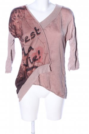 JT WOMAN V-Ausschnitt-Pullover pink-braun Allover-Druck Casual-Look