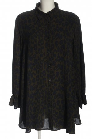 Jubylee Hemdblousejurk khaki-zwart volledige print zakelijke stijl