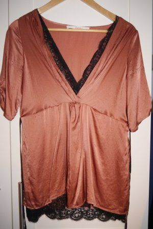 Jucca Bluse Top Seide tolle Farbe + schwarze Spitze Lingerie Gr. 36 NEUw