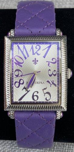 Judith Ripka Montre avec bracelet en cuir argenté-violet