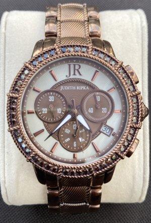 Zegarek z metalowym paskiem ciemnobrązowy