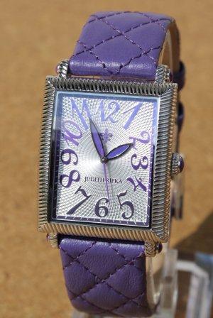 Judith Ripka Reloj con pulsera de cuero color plata-lila