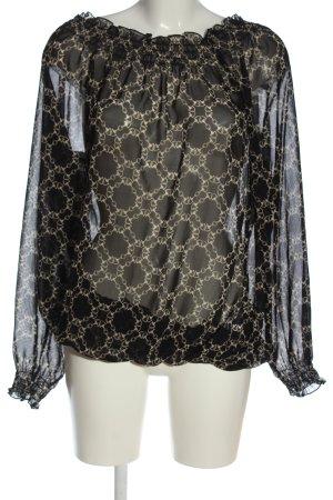 Judith Williams Carmen Blouse black-natural white abstract pattern elegant