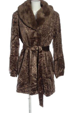 Judith Williams Manteau en fausse fourrure brun motif abstrait élégant
