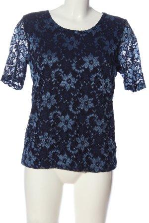 Judith Williams Spitzenbluse blau-weiß Webmuster Casual-Look