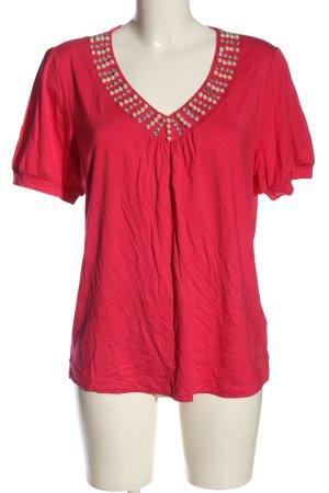 Judith Williams T-shirt col en V rouge style décontracté