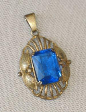 JUGENDSTIL 835 SILBER Anhänger blauer Stein um 1900 gold