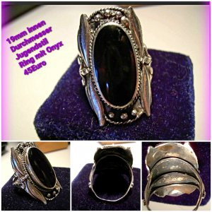 Srebrny pierścionek czarny-srebrny