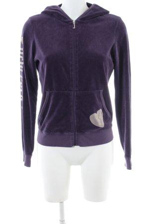 Juicy Couture Fleecejacke lila-wollweiß Schriftzug gedruckt Casual-Look