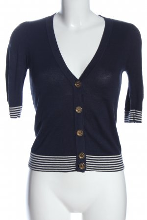 Juicy Couture Short Sleeve Knitted Jacket blue-white striped pattern casual look