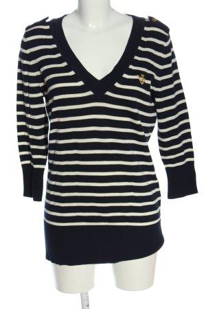 Juicy Couture V-Ausschnitt-Pullover schwarz-weiß Streifenmuster Casual-Look