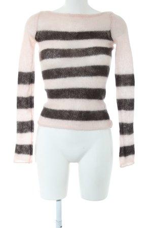 Juicy Couture Pull ras du cou blanc cassé-noir motif rayé style décontracté