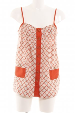 Juicy Couture Silk Top light orange-natural white abstract pattern casual look