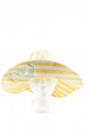 Juicy Couture Sombrero de ala ancha amarillo pálido-blanco estampado a rayas