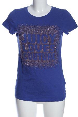 Juicy Couture Strickshirt blau Schriftzug gedruckt Casual-Look