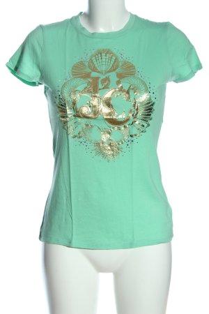 Juicy Couture T-Shirt türkis-goldfarben Motivdruck Casual-Look