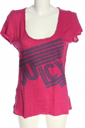 Juicy Couture T-Shirt pink-blau Schriftzug gedruckt Casual-Look