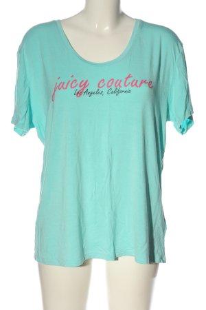 Juicy Couture T-shirt turquoise-rose lettrage imprimé style décontracté