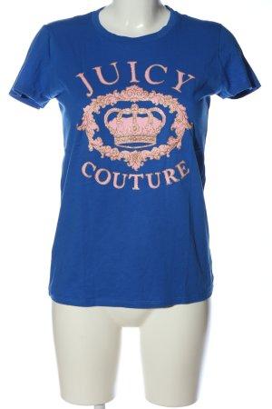 Juicy Couture T-shirt bleu-rose imprimé avec thème style décontracté
