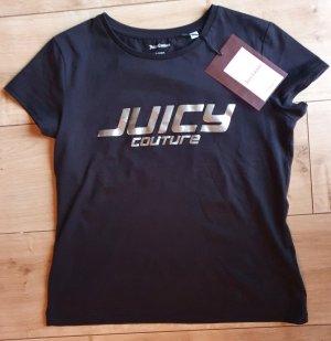 Juicy Couture Koszulka z nadrukiem czarny-srebrny Bawełna