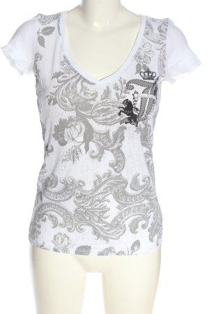 Juicy Couture T-shirt blanc-gris clair imprimé allover style décontracté