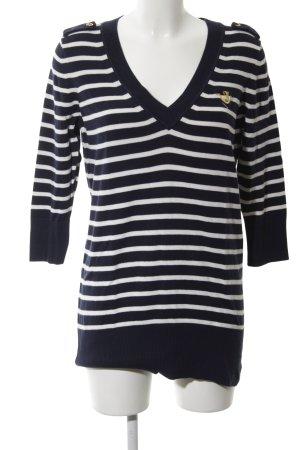 Juicy Couture V-Ausschnitt-Pullover blau-weiß Streifenmuster Casual-Look