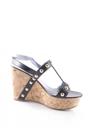 Juicy Couture Wedges Sandaletten schwarz-goldfarben Party-Look