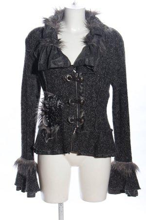 Juju & Christine Giacca di lana grigio chiaro-nero puntinato stile stravagante
