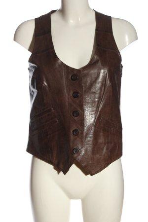 Julia S. Roma Gilet en cuir brun style classique