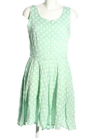 Julia Wang Midikleid grün-weiß Punktemuster Casual-Look