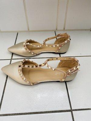 Juliet Ballerina's met kant nude-goud