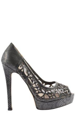 Juliet High Heels schwarz-silberfarben Animalmuster extravaganter Stil