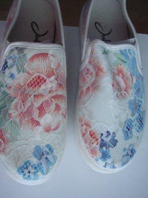 Juliet - Platau Schuhe Slipper bunt - hell mit Spitze Gr. 39
