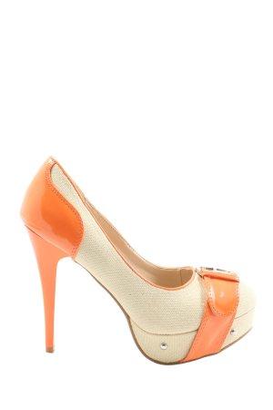 Jumex High Heels wollweiß-hellorange extravaganter Stil