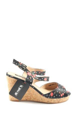Jumex Sandały klinowe na obcasie czarny Wzór w kwiaty W stylu casual