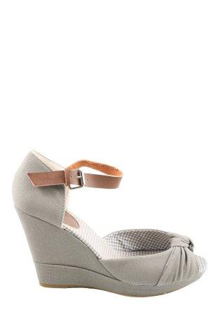 Jumex Sandały klinowe na obcasie jasnoszary W stylu casual