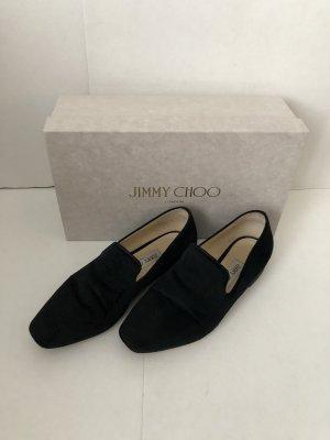 Jummy Choo Jaida Flat Liquid Velvet with Glitter Heel Loafer