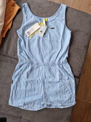 Alife & Kickin Kurzer Jumpsuit baby blue-azure cotton