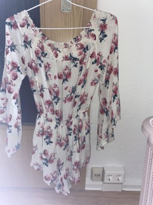 Abercrombie & Fitch Robe épaules nues blanc-or rose