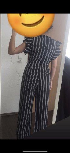 NoName Costume à rayures blanc-noir polyester