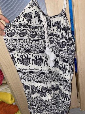0039 Italy Sukienka boho biały-czarny