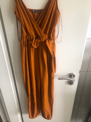 Zara Pantalon large orange foncé