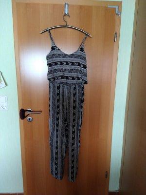 Amisu Langer Jumpsuit white-black