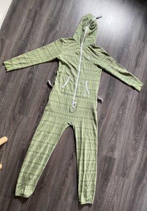 Jumpsuit onepiece Ganzkörper Anzug Schlafanzug Ganzkörperanzug grün Muster Reißverschluss