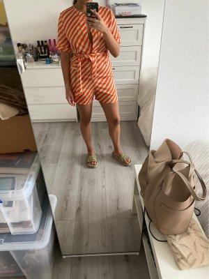 Mango Kurzer Jumpsuit white-neon orange