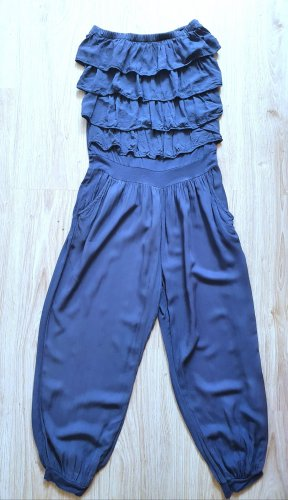 Jumpsuit / Overall / Einteiler / trägerlos / Volants / Pumphose / blau / Größe S/M