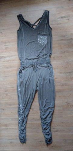 Jumpsuit Overall khaki grau Pailletten Tredy