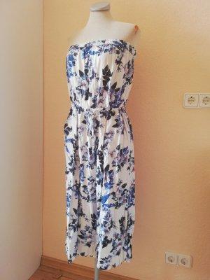 Jumpsuit Playsuit Einteiler Gr. UK 12 EUR 40 D 38 S M weiß geblümt Blumen Oasis Culotte